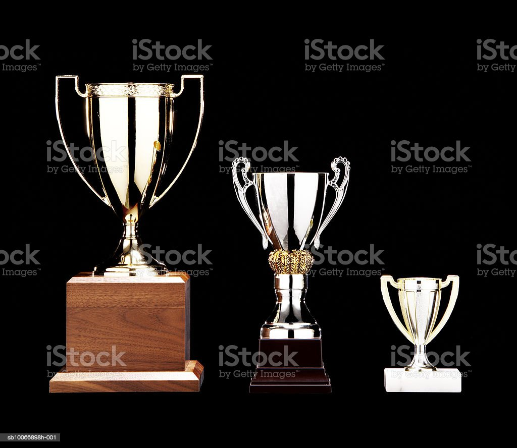 Tropheys on black background royalty-free stock photo