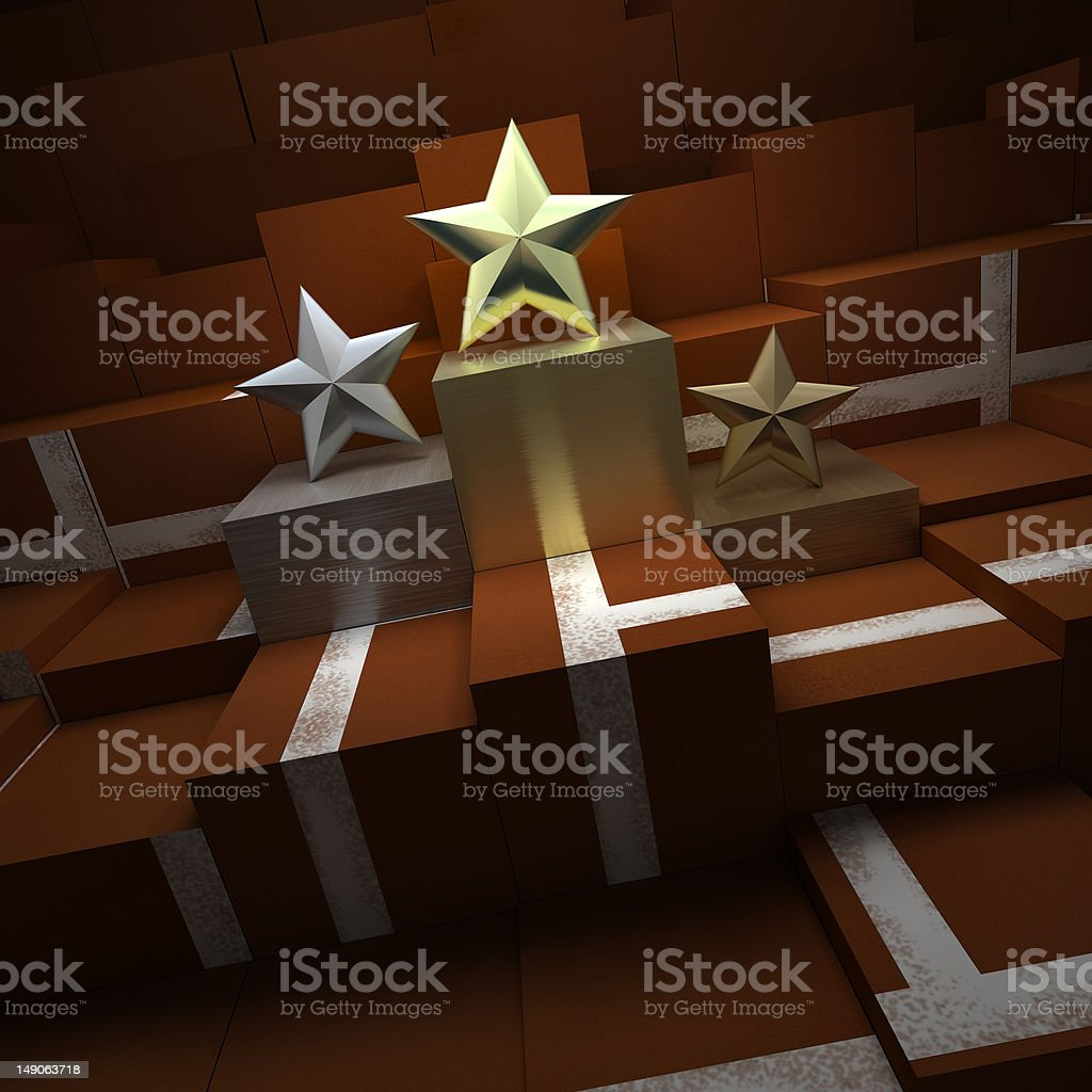 Trophies in a tennis podium stock photo