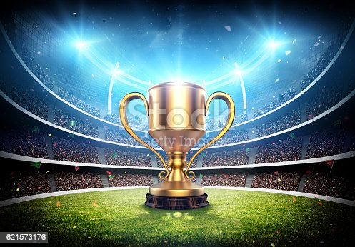 istock Trophy cup in the stadium 621573176