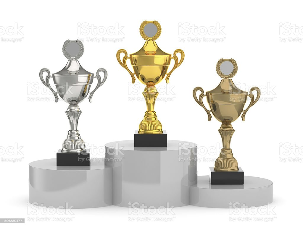 trophy cups standing stock photo