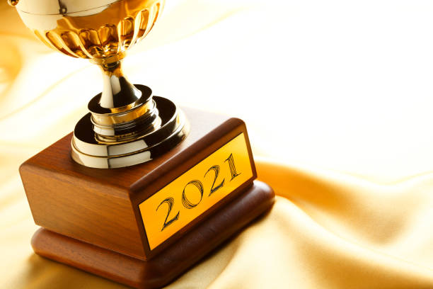 Trophy Engraved With 2021 stock photo