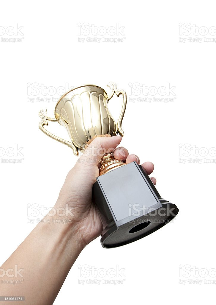 Trophy in Hand (Clipping Path!) isolated on white background royalty-free stock photo