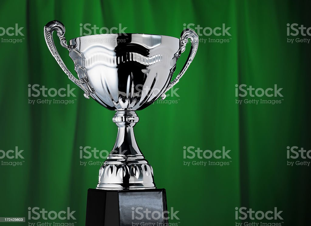 Trophy on green royalty-free stock photo