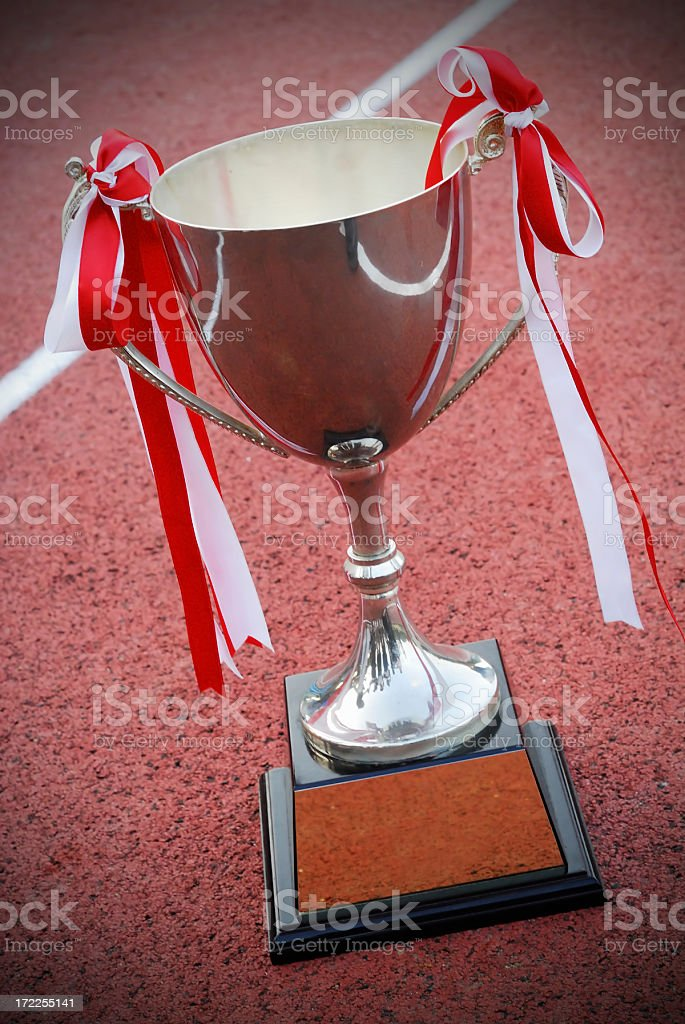 Trophy on race track royalty-free stock photo