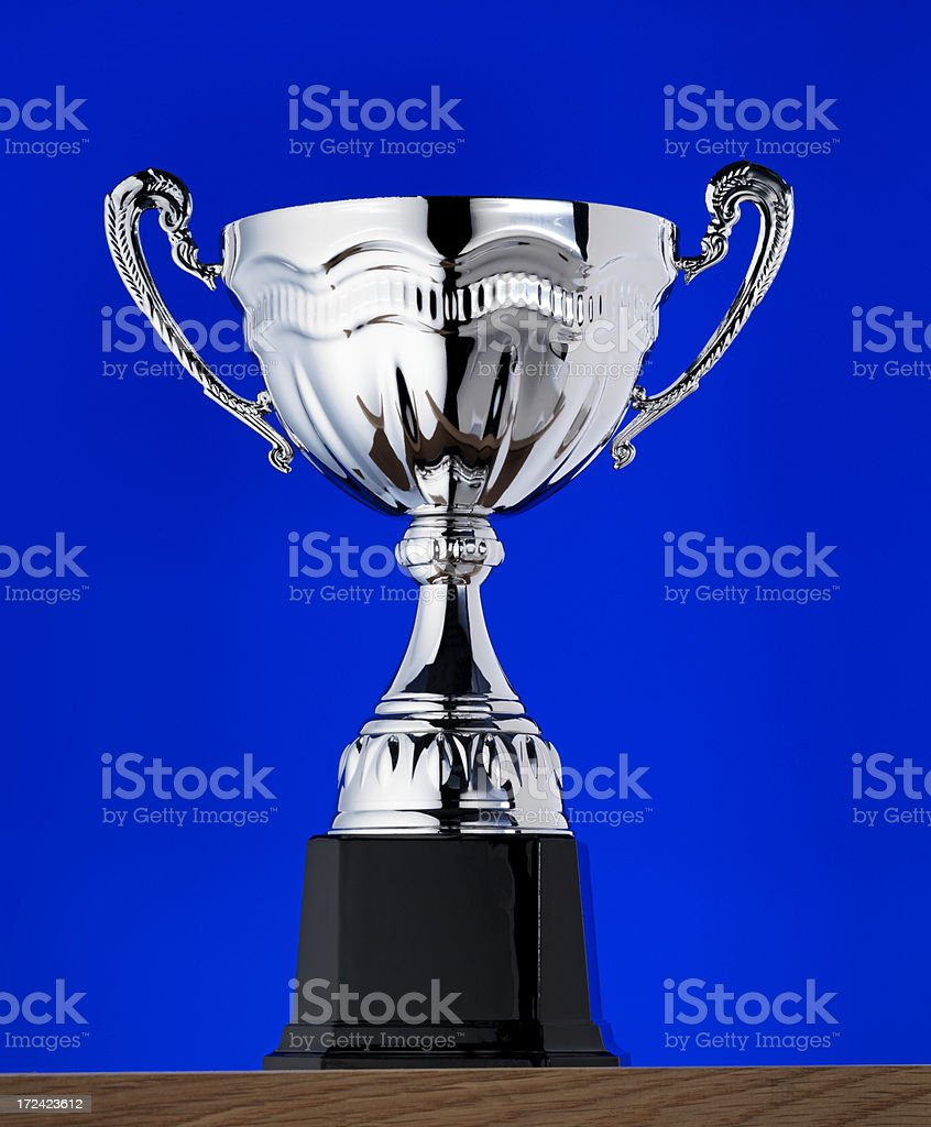 Trophy on table top stock photo