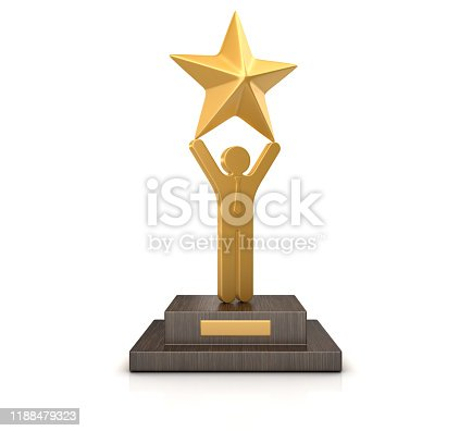 istock Trophy with Business Pictogram with Star - 3D Rendering 1188479323
