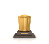 Trophy with Garbage Can - White Background - 3D Rendering