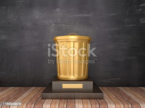 Trophy with Garbage Can on Wood Floor - Chalkboard Background - 3D Rendering