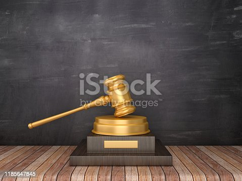 Trophy with Gavel on Wood Floor - Chalkboard Background - 3D Rendering