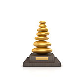 Trophy with Pebble Stack - White Background - 3D Rendering
