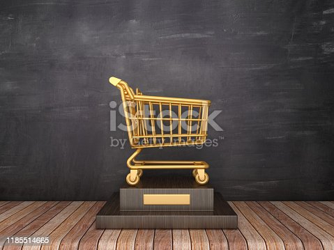 istock Trophy with Shopping Cart on Wood Floor - Chalkboard Background - 3D Rendering 1185514665