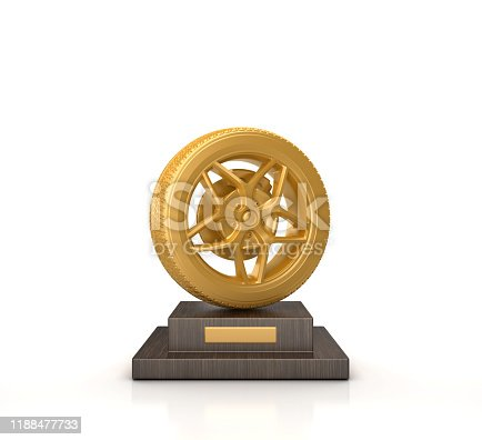 Trophy with Wheel - White Background - 3D Rendering