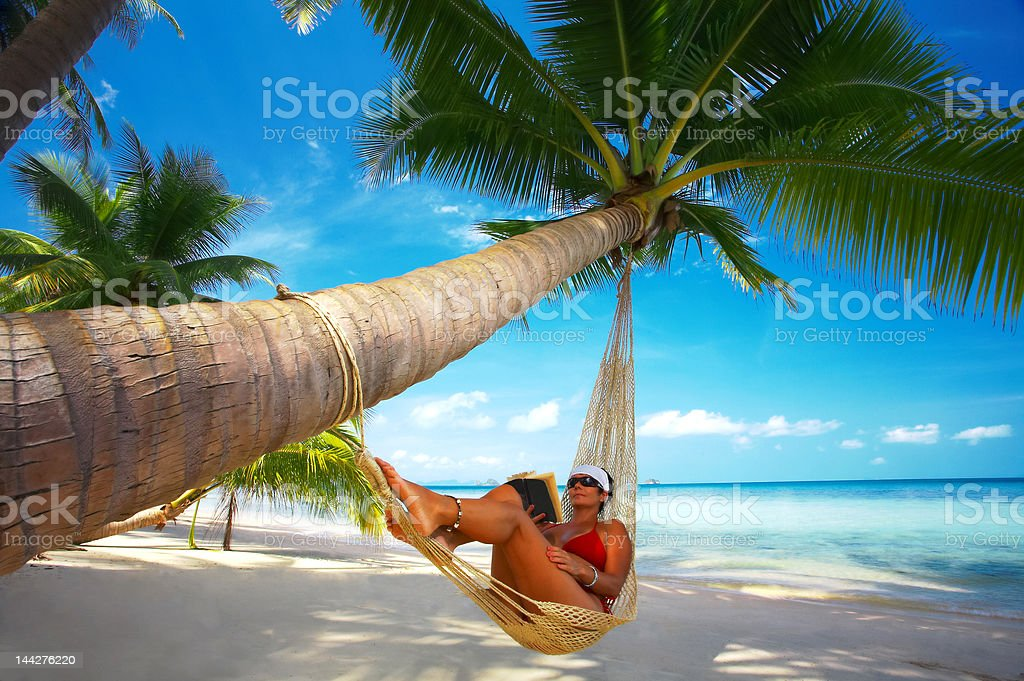 tropic lounging stock photo