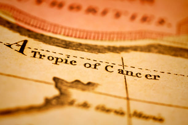 Tropic Of Cancer On An Antique Map Stock Photo & More Pictures of ...