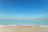 istock Tropical andaman seascape scenic off mai khao beach and wave crashing on sandy shore in phuket thailand,can be used for air transport to travel and open season to travel background. 911549976