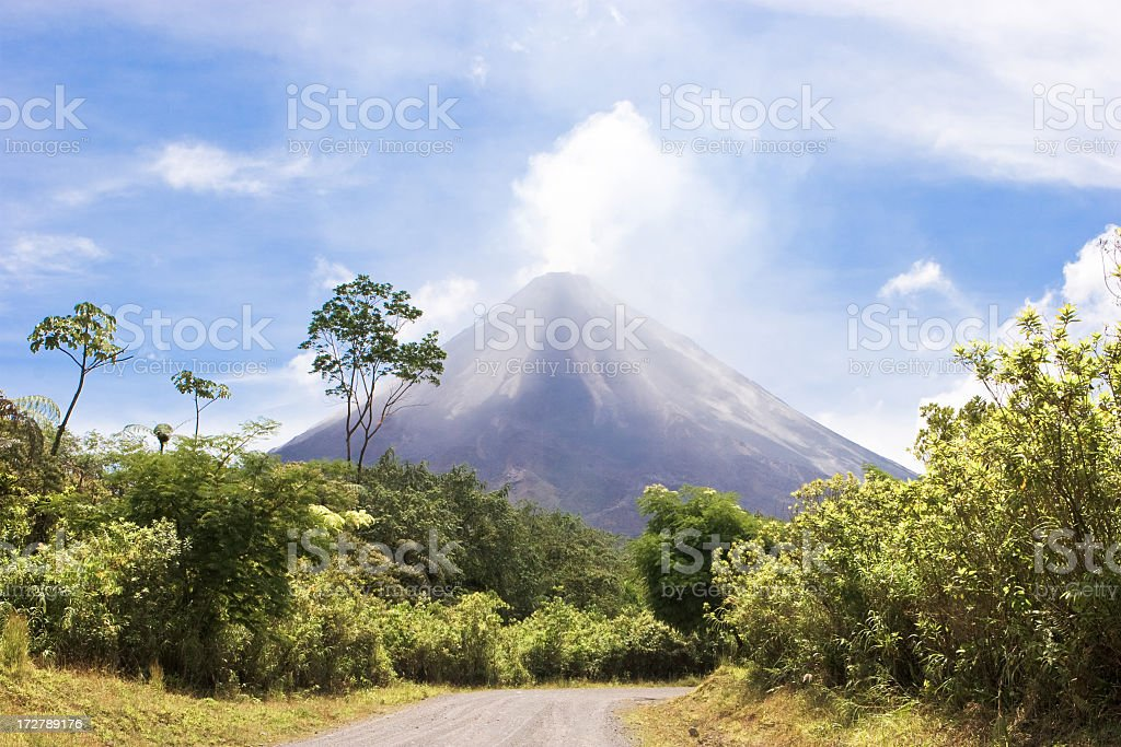 Tropical area with an active volcano stock photo