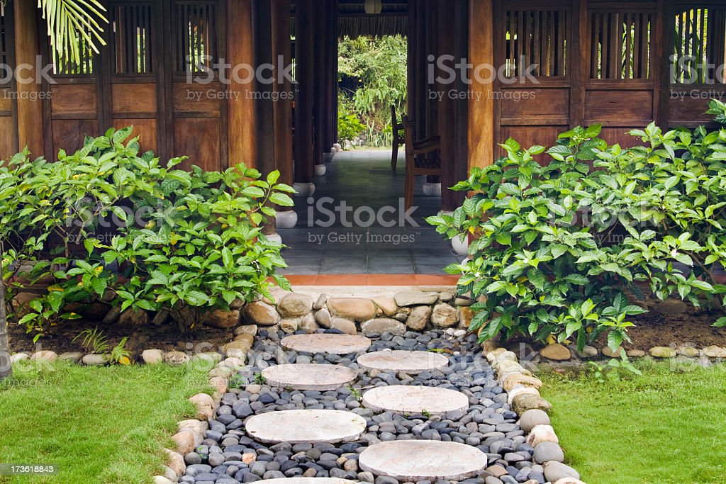 Tropical Asian Tourist Resort Spa With Garden Stepping Stone Path ...