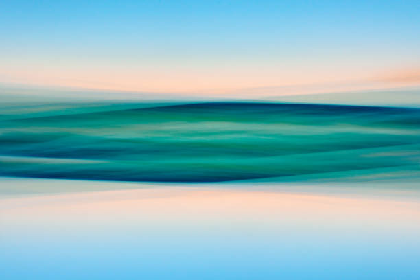 Tropical Beach. Abstract Background. Motion Blur. Blue, Pink, Yellow, Turquoise Colors stock photo
