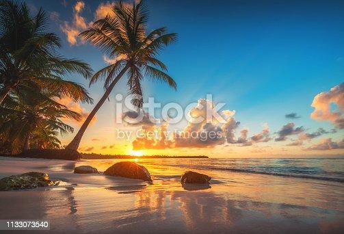 istock Tropical beach and beautiful sunrise view in Punta Cana bay, Dominican Republic 1133073540