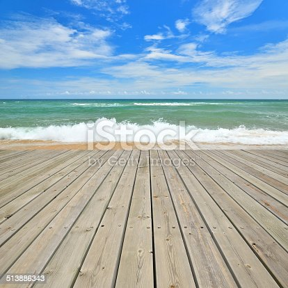 Tropical beach and empty wooden platform