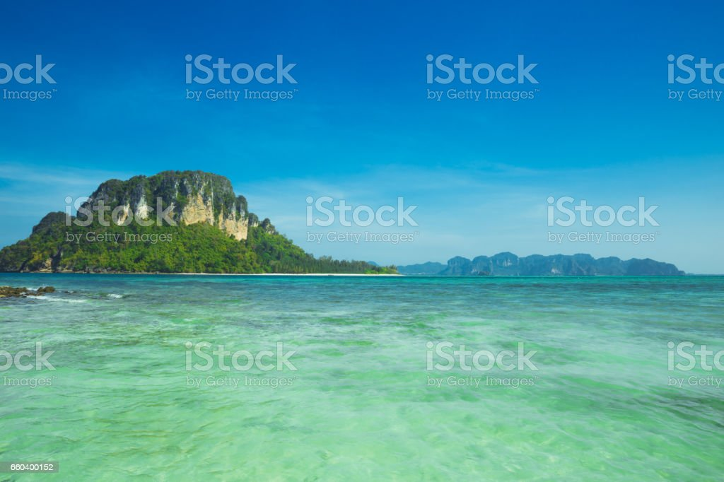 Tropical beach and island in Andaman Sea, Thailand stock photo