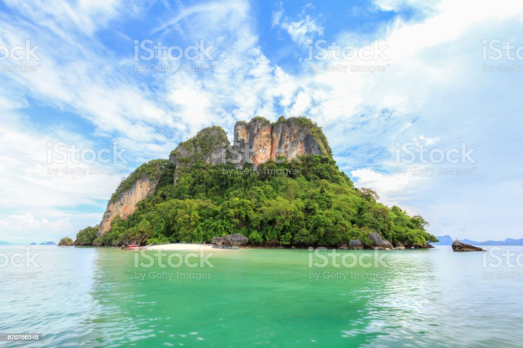 Tropical beach and island in Krabi province, Thailand. stock photo