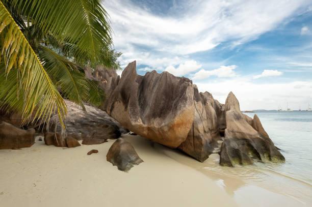 Tropical beach at Curious Island Seychelles stock photo