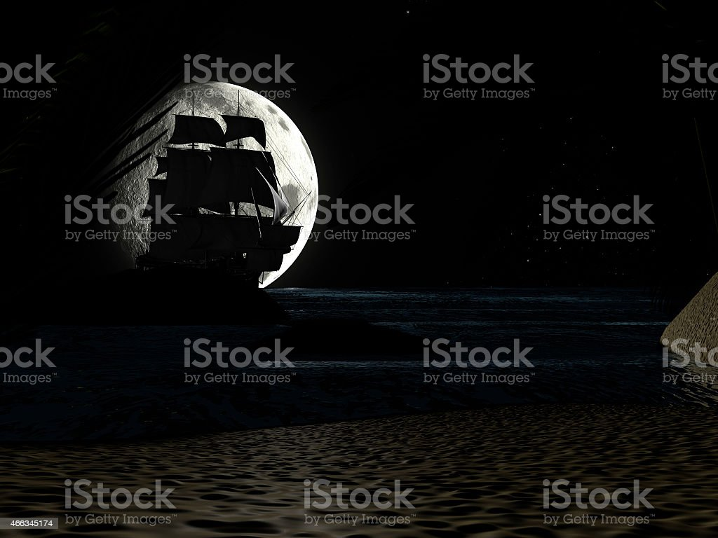 Tropical Beach at Night Moonlight, with Sailboat. stock photo