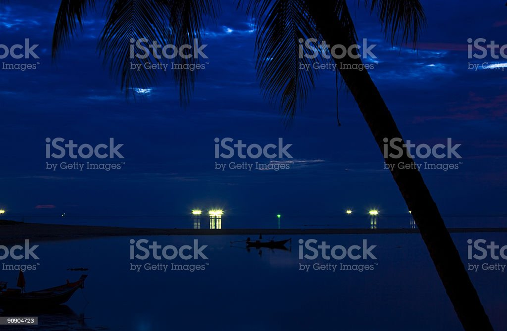 Tropical beach at night. royalty-free stock photo