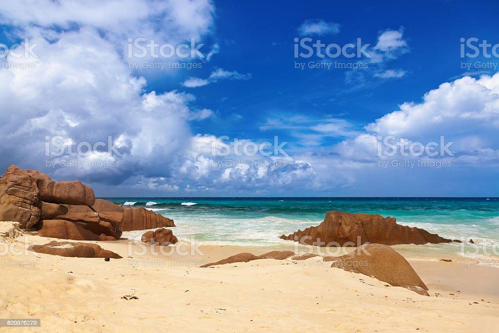 Tropikalnej plaży na Seszele zbiór zdjęć royalty-free