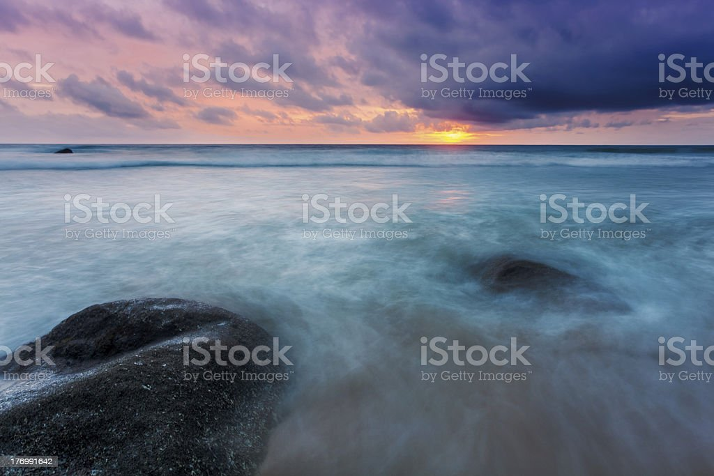 Tropical beach at sunset. royalty-free stock photo