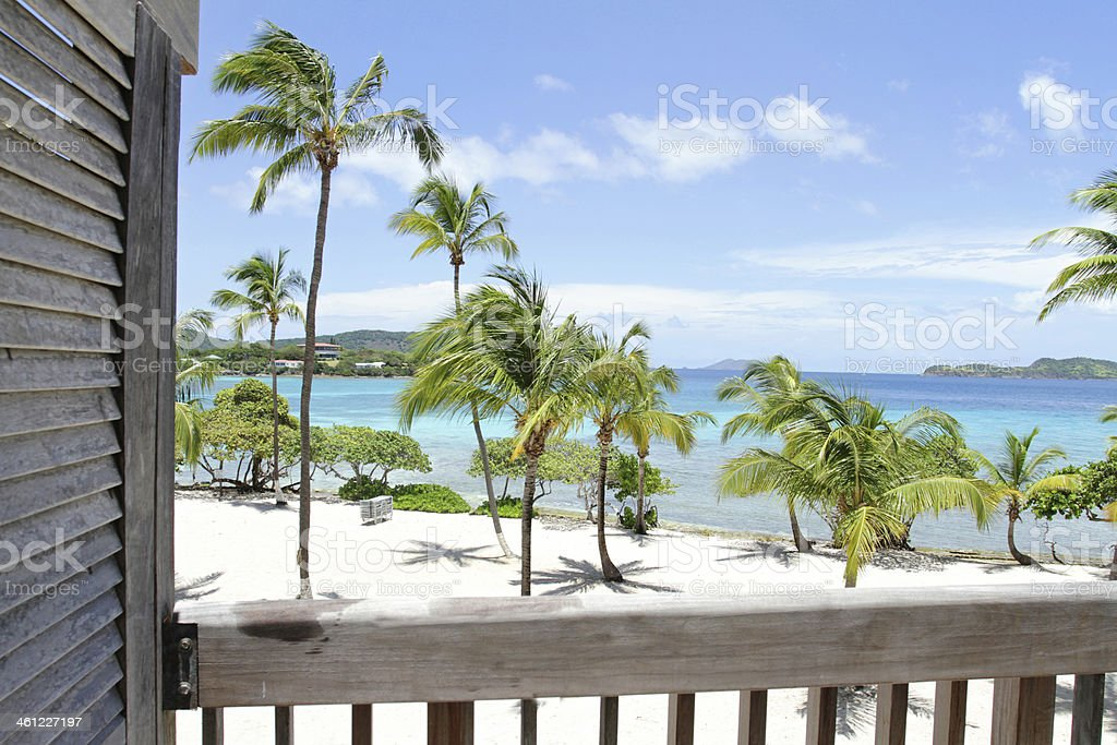 Tropical Beach, Caribbean, View from Deck stock photo