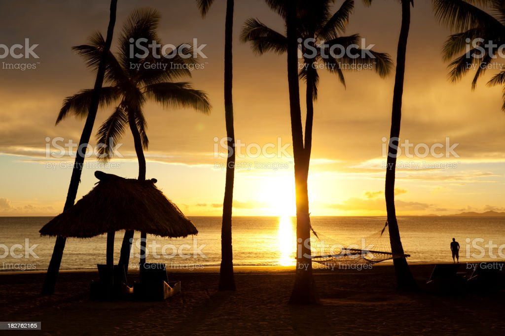 Tropical Beach Getaway Silhouette royalty-free stock photo