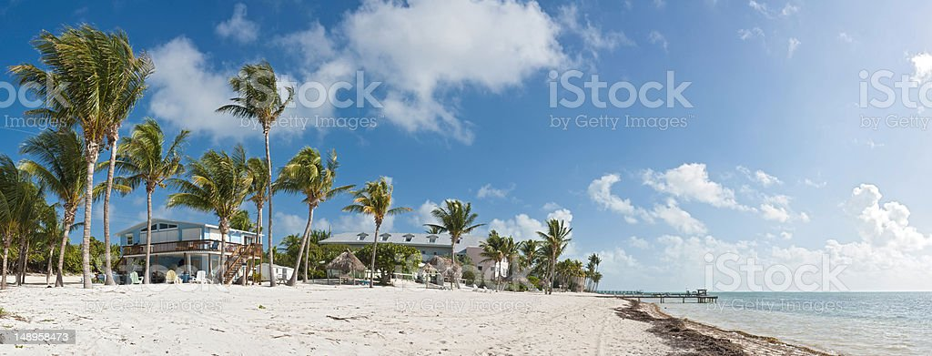 Tropical beach home palm panorama stock photo