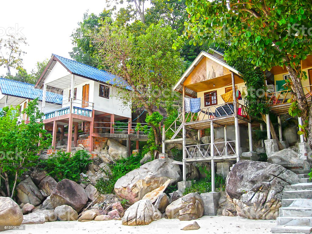 Tropical beach houses in Thailand stock photo