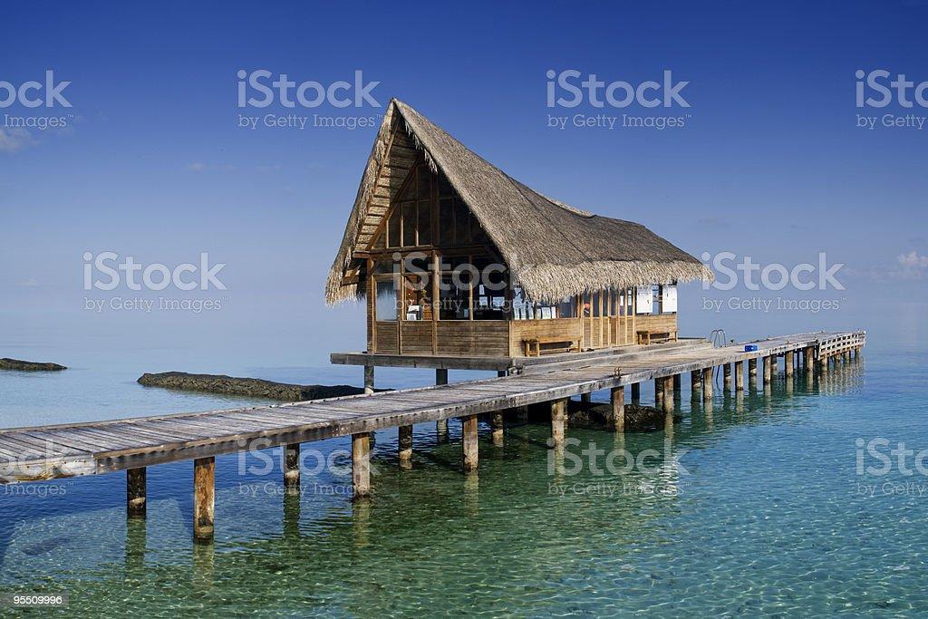 Tropical beach hut. stock photo