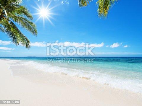 istock Tropical beach idyllic landscape 854316280