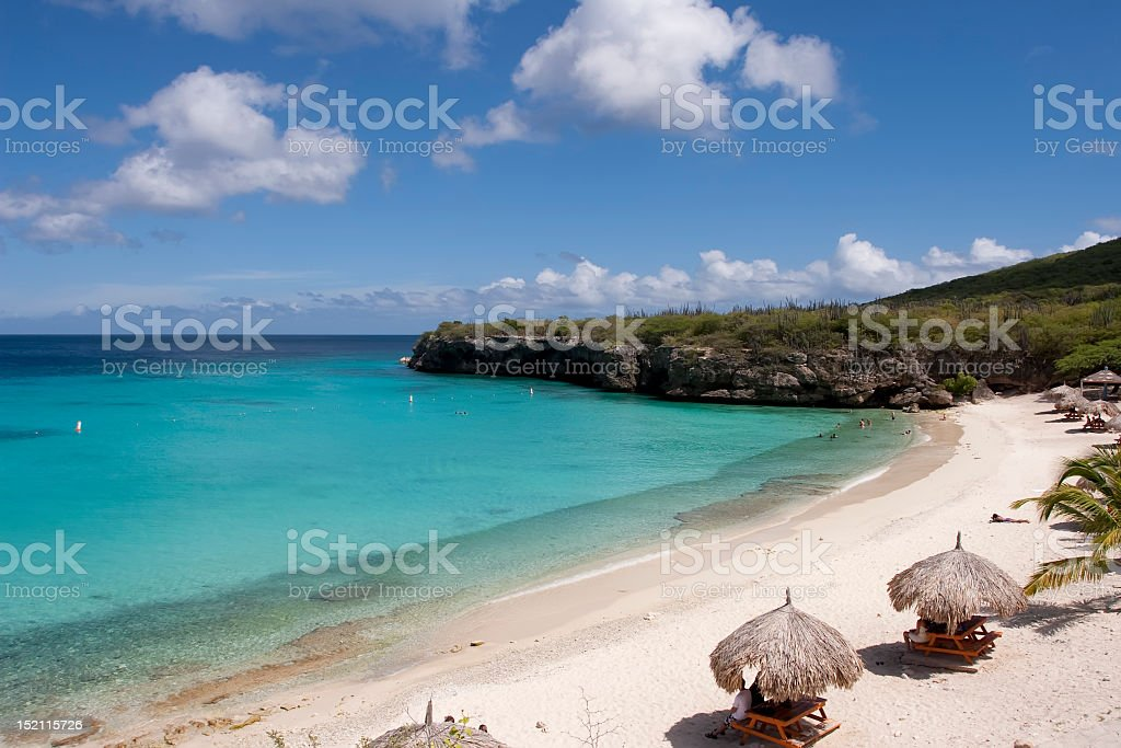 tropical beach in Caribbean stock photo