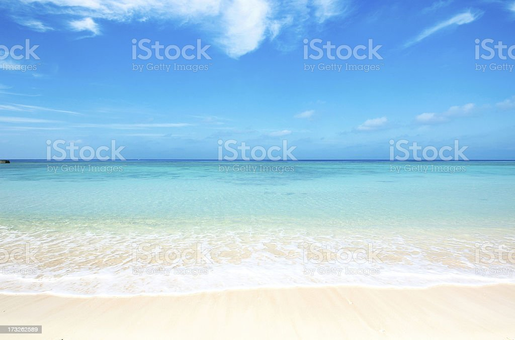 Tropical beach in Okinawa on a sunny day stock photo