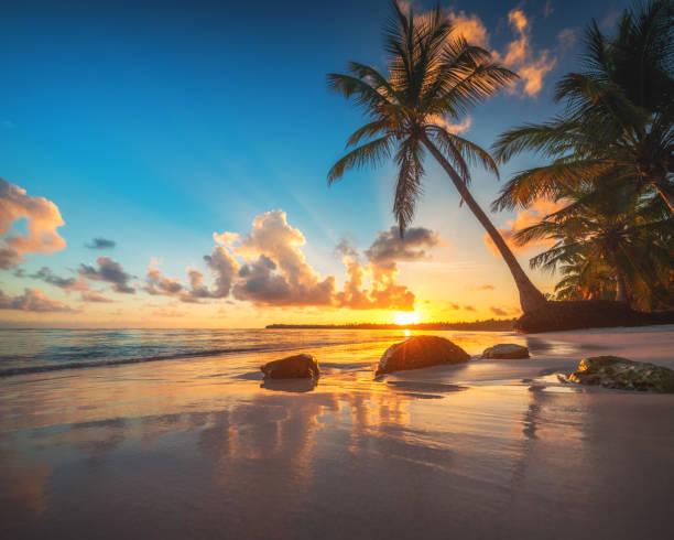 Tropischer Strand in Punta Cana, Dominikanische Republik. Sonnenuntergang auf der Insel. – Foto