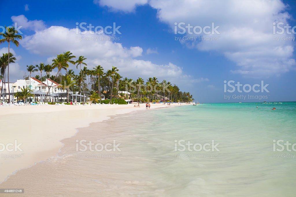 Tropical beach in Punta Cana stock photo