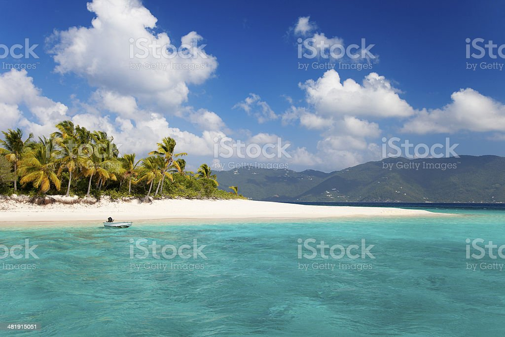 tropical beach in Sandy Cay, British Virgin Islands stock photo