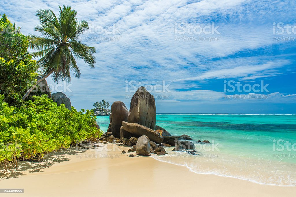 Tropical beach in Seychelles, Mahe stock photo