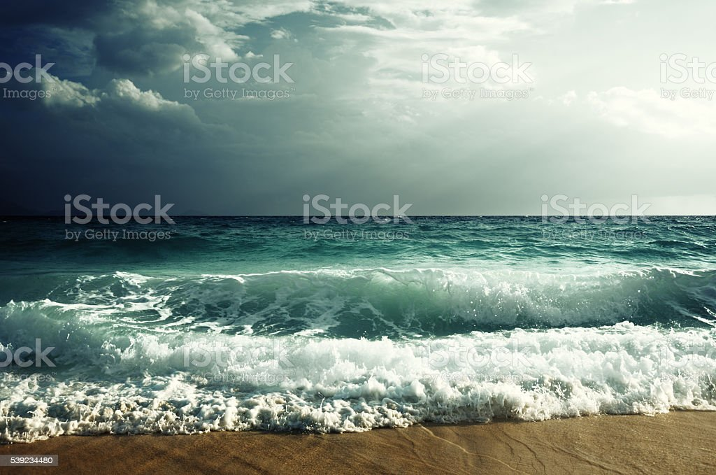 tropical beach in sunset time royalty-free stock photo