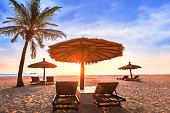 Tropical beach landscape at sunset, summer vacation holiday in paradise luxurious coastal hotel resort, palm tree, sun bed loungers and parasol on the sand with pristine sea and blue sky