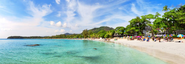 Tropical beach landscape panorama. stock photo