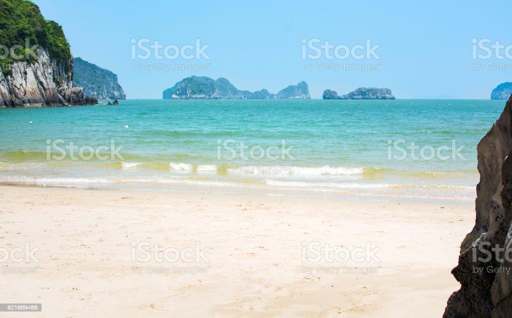 Tropical beach of Cat ba island, Vietnam stock photo