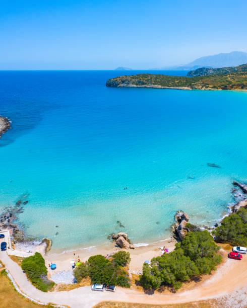 Tropical beach of Voulisma beach, Istron, Crete, Greece. stock photo