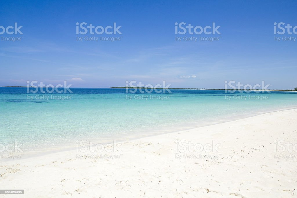 Tropical beach of white sand. Cuba. stock photo