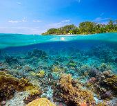 熱帯ビーチに島 Meno 、インドネシアの上まで水をご用意。